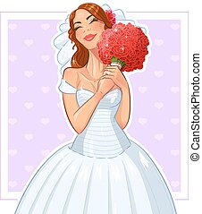 Beautiful bride with bunch of roses