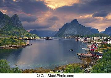 Reine, Norway. - Scenic town of Reine by the fjord on...