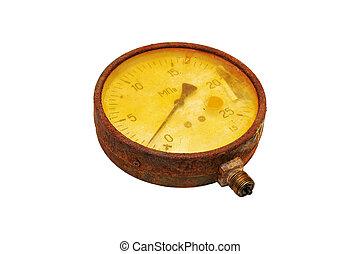 zardzewiały, manometer.,
