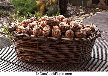 Walnuts in a basket