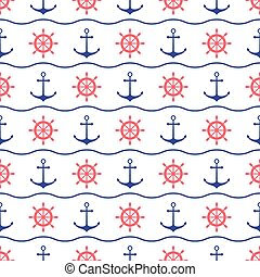Seamless nautical pattern with scattered red and blue...