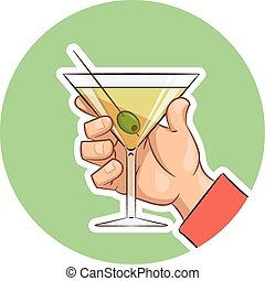 Glass of martini with olive in hand Eps10 vector...