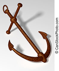 Old anchor - Old rusty anchor on a white background