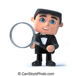 3d Bow tie spy has a magnifying glass - 3d render of a man...