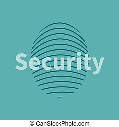 Fingerprint icon with security text Vector illustration