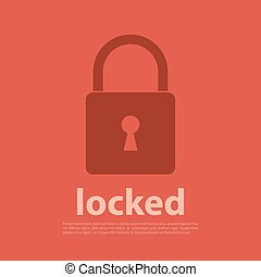 Lock icon with text Vector illustration in flat style