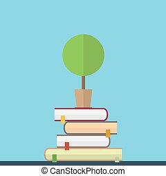 Flat illustration of educaton concept Books with tree