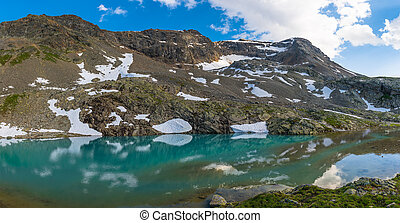 Alpine lake with last snow in summer