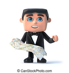 3d Bow tie spy reads his map - 3d render of a man in a...