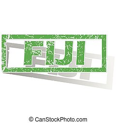 Green outlined Fiji stamp - Green stamp with name Fiji and...