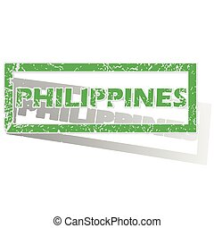 Green outlined Philippines stamp