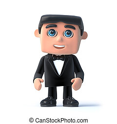 3d Bow tie spy - 3d render of a man in a tuxedo and bow tie.