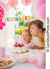 Garden party for the daughter s birthday with mum Girl makes...