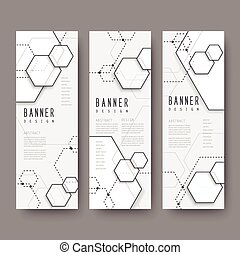 simplicity hexagon element banners set isolated on grey