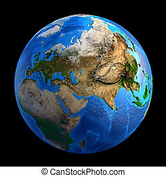 Planet Earth landforms - Detailed picture of the Earth and...
