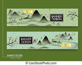 Chinese brush painting style banner template design