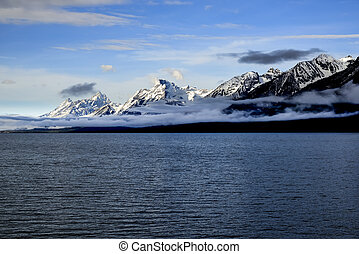 Grand Teton Mountains - A view of the towering snowcapped...