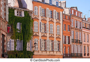 Facades of Toulouse - View on facades on a square of...