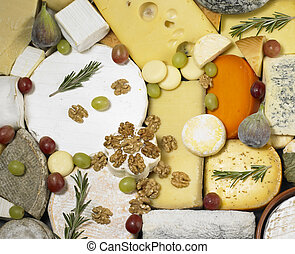 cheese still life with fruit