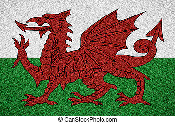 flag Wales - flag of Wales or Welsh symbol on abstract...