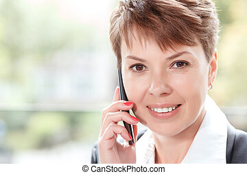 Businesswoman on a break - Close up portrait of a beautiful...