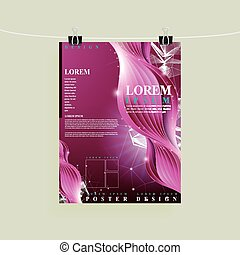 modern poster template design with purplish red curve...