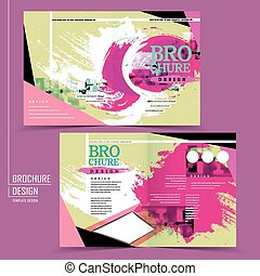abstract half-fold template design with calligraphy strokes...