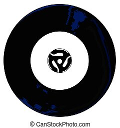 45 RPM - A typical 45 rpm vinyl record with a blank labell...