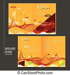 futuristic style half-fold template design with streamline...