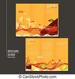 futuristic style tri-fold template design with streamline...