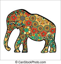 elephant. - The cheerful elephant. The silhouette of the...