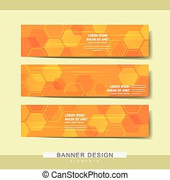trendy banner template design with hexagon geometric...