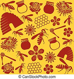 bee and honey icons seamless pattern