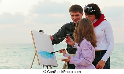 The Girl Draws Seascape.