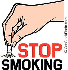 hand extinguishing a cigarette - stop smoking concept - hand...