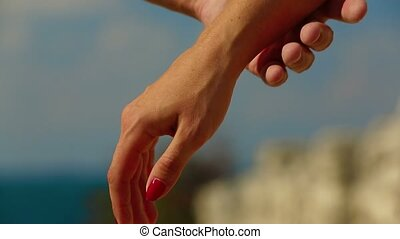 Holding Hands Touch Each Other - A man and a woman join...
