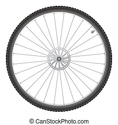 Bicycle wheel, vector - Black bicycle wheel on a white...