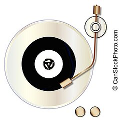 Record Player - A typical vinyl record with a blank labell...