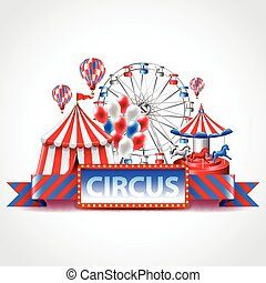 Circus fun fair carnival vector background - Circus fun fair...