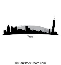 Taipei vector Skyline - Taipei black vector Skyline...