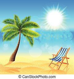Palm and deck chair on sunny beach vector - Palm and deck...