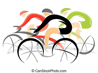 Cyclists competition - Colorful expressive drawing of three...