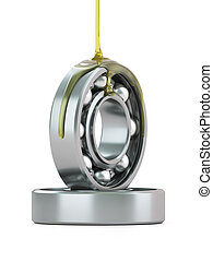 Oiling Ball Bearing - Oiling ball bearing close-up isolated...