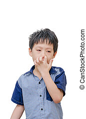 boy picking his nose by finger - Asian boy picking his nose...