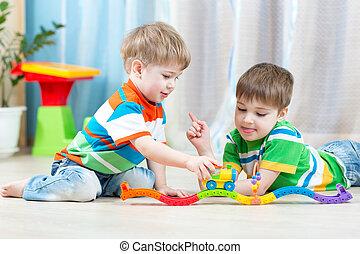 玩具, 橫檔, 孩子, 托兒所, 玩, 路