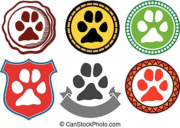 animal paw sign icons