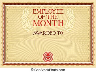 employee of the month - certificate template