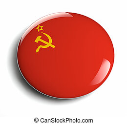 USSR flag icon with clipping path isolated on white.