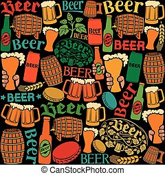beer icons seamless pattern