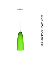 Green hanging lamp. - Green hanging lamp isolated on white...